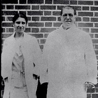 Mary Mallon (wearing glasses) photographed with bacteriologist Emma Sherman on North Brother Island in 1931 or 1932, over 15 years after she had been quarantined there permanently.