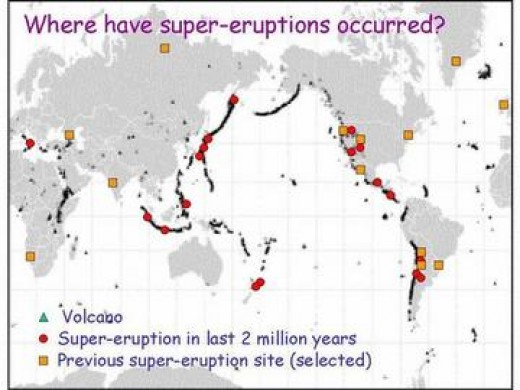 This maps shows spots where super-volcanoes are located on the earth.