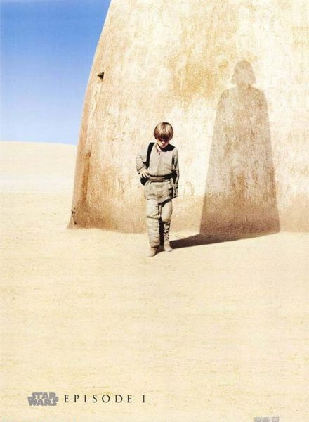 Teaser poster for The Phantom Menace that anticipates Anakin's future.