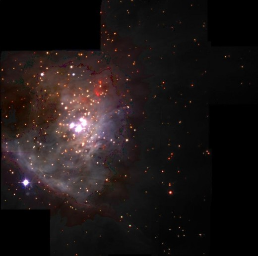 An infra red image of the Orion Nebula reveals many new planets in the early stages of development. The interesting fact is that they are not orbiting stars.