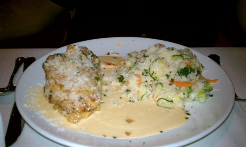 Restaurant Review: Vivace Restaurant in Tucson. Image: Crab filled breaded chicken breast with cream sauce and vegetable rice.