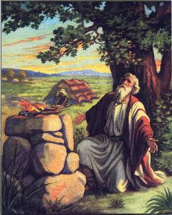 Abraham at his altar, uptojerusalem.com
