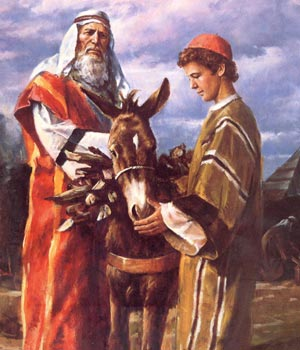 Abraham and Isaac on the way upto Mount Moriah
