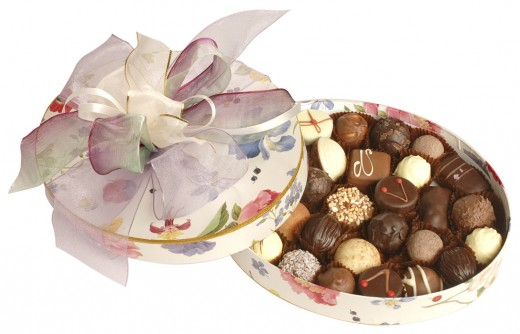Box filled with variety of chocolates