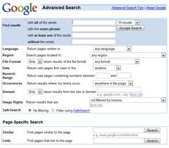 Google advanced search page