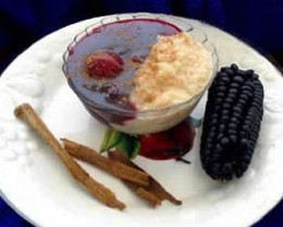 Mazamorra Morada, or Purple Pudding.  Served with rice with milk.