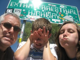 Roadsign for the Extraterrestrial Highway ... 100 feet before another announcing no gas for 150 miles!