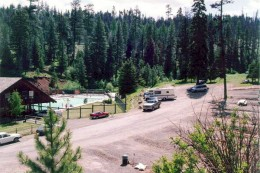 The spacious camping grounds at Lehman Hot Springs