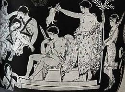 Vase painting: Orestes is in the middle with a sword. The Furies are on the left side. Apollo is holding a pig hanging over Orestes as an act of purification.