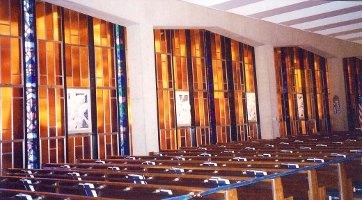 Pretty stained glass windows in the Catholic part of the chapel