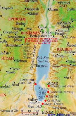 map of DEAD SEA with 5 biblical cities: Sodom, Gomorrah, Admah, Zebouin and Zoar indicated