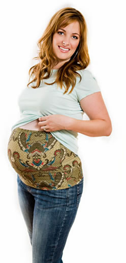 Maternity belly band in its primary function