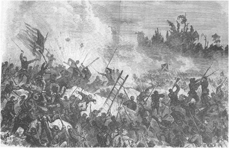 Lithograph Portraying the Union assault on May 22 (Frank Leslies The American Soldier in the Civil War) Source:  Leonard Fullenkamp, Stephen Bowman, and Jay Luvaas,  Guide to the Vicksburg Campaign.  (Lawrence, Kansas: University Press of Kansas, 199