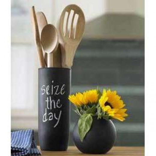 Paint containers with chalkboard paint and have fun!