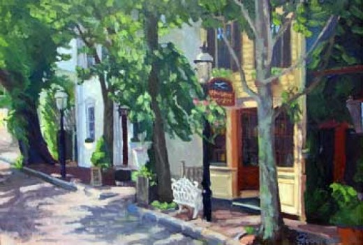 Nantucket Side Street, by Paul Carter Goodnow. Both paintings from meridiangalleries.com