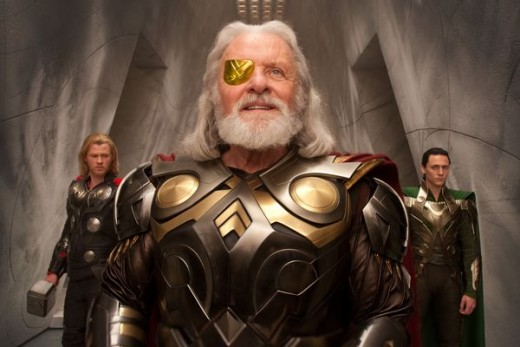 A familiar face as Odin, father of the Gods...the Evil Loki seen in the background
