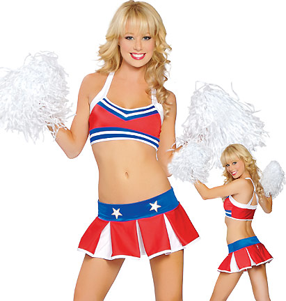 For Halloween, cheer your party on in this sexy sis boom rah cheerleader costume