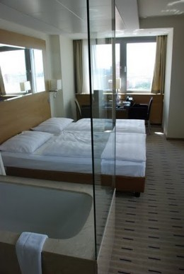 The glass-encased bathroom made the room feel more spacious