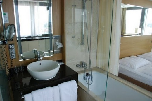Nice bathroom- a bit skimpy on the table space though