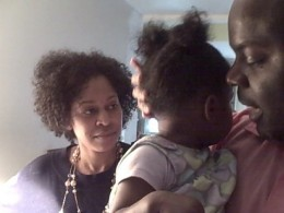 My baby brother, his daughter, and his wife.