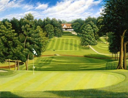 Hole #1 at Illini Country Club in Springfield. Picture courtesy of www.strackart.com