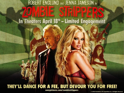 Movie review of Zombie Strippers starring Jenna Jameson and Robert Englund.