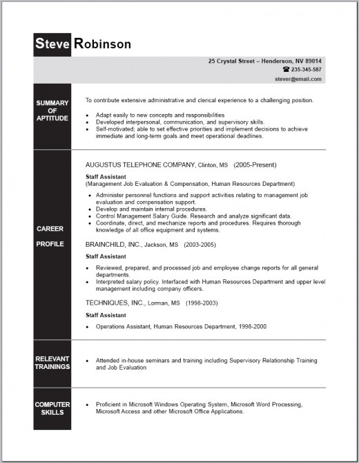Sample of a Non-Supervisory Professional Resume
