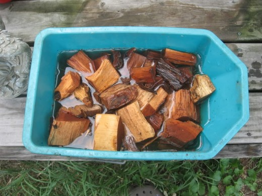 Soaking your hickory chips or chunks.