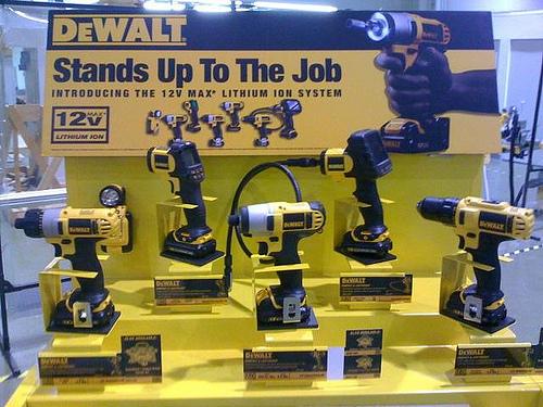 The Dewalt cordless range. Image courtesy Charles and Hudson