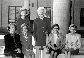 First Ladies at the dedication of the Ronald Reagan Presidential Library  Photo courtesy of Wikipedia