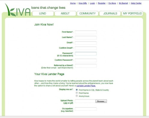 Signing up is easy and is completed almost entirely on a single page.