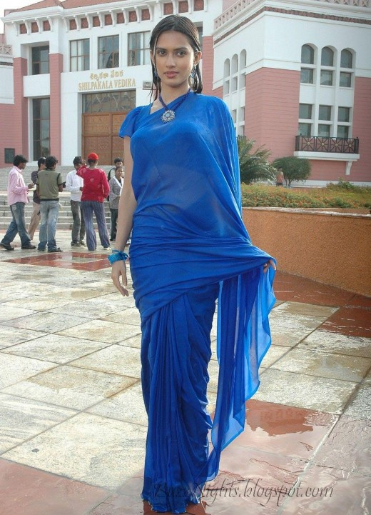 Actress Gowri Pandit in a Wet Blue Saree - Images