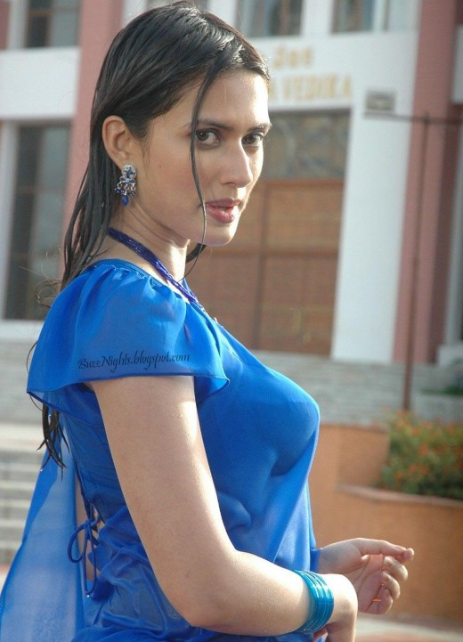 Gowri Pandit Looking Hot in Blue Saree -  Photos