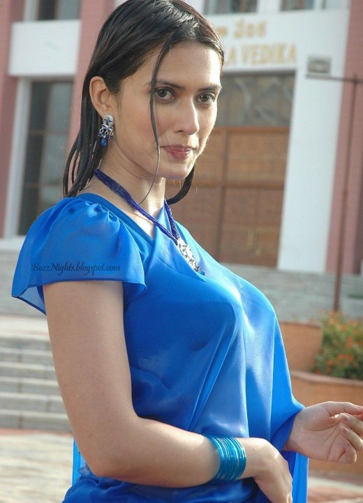 Gowri Pandit Looking Hot in Blue Saree -  Pictures and Photos