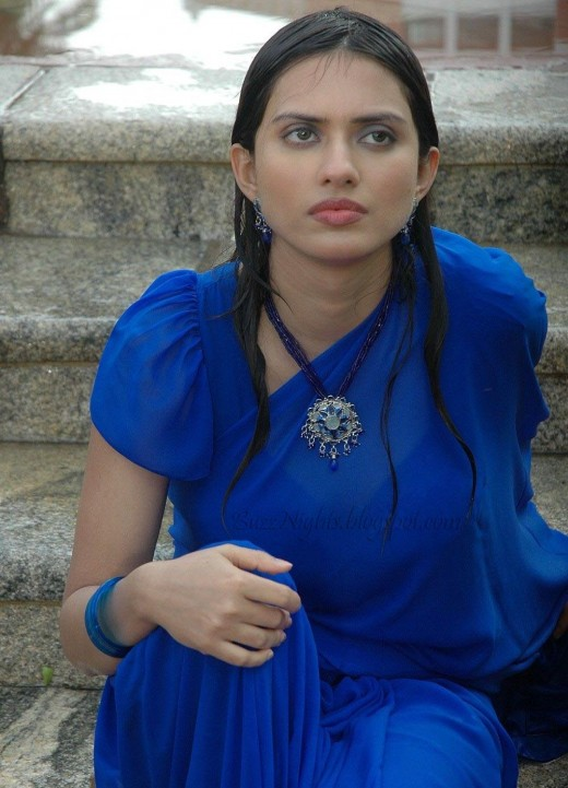 Telugu Masla Heroine Gowri Pandit in a sexy Blue Saree - Images and Stills
