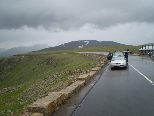 Looking back at Trail Ridge Road, Rocky Mountain National Park, during a summer storm.