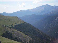 The classic view of Longs Peak from Trail Ridge Road.