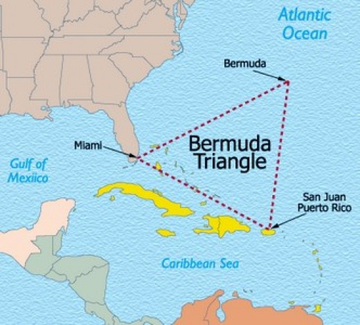A map showing the extent of the Bermuda Triangle