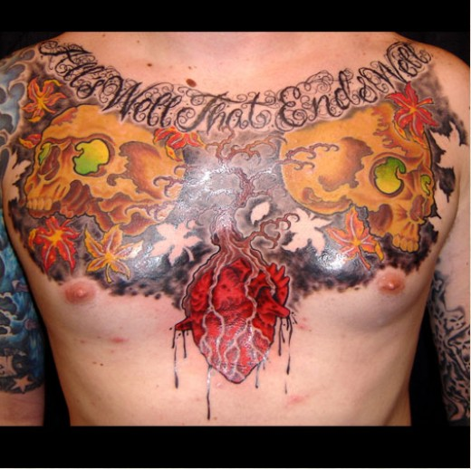 Chest tattoos designs by Josh Wrede