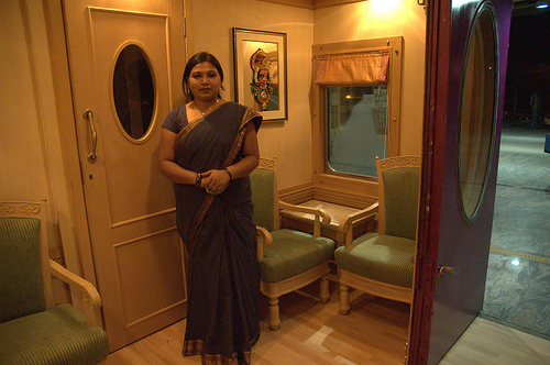 Interiors and facilities of a luxury train operated in South India