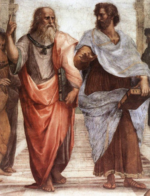 Plato (left) is carrying a copy of his Timeus, and pointing upwards, which symbolizes his concern with the eternal and immutable Forms. Aristotle (right) is carrying a copy of his (Nicomachean) Ethics, and keeping his hand down, which symbolizes his