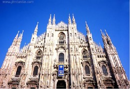 Milan Cathedral, Duomu di Milano, an exceptionally large and elaborate Gothic cathedral on the main square of Milan. Completed in five centuries, it is 157 meters long and can accommodate 40,000 people. It is said to be second largest Catholic Cathed