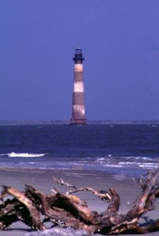 The Historic Morris Island Lighthouse in Charleston Harbor.