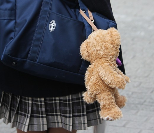 A typical school bag plushie. Whether you like teddy bears or Hello Kitty, make sure your plushie is huge!