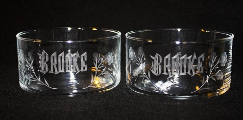 example of baby dishes (hand-engraved)