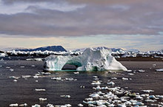Iceberg at Cape York, Greenland break off yearly