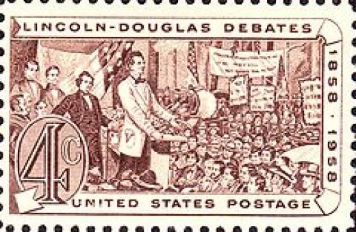 a stamp made of the   Lincoln-Douglas Debates Photo courtesy of Wikipedia
