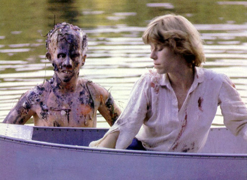 A young, un-drowned Jason Voorhees and Alice Hardy in Friday the 13th.