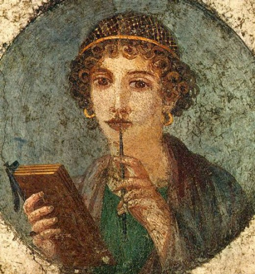 """Roman and Greek noble women were educated as a symbol of family pride.  """"Sappho"""" is wearing golden snood typical for the Neronian period. Her stylus and wax tablets are symbols of higher learning.       Found May 1760, Pompeii, Region VI, Insula occi"""