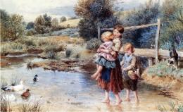 Children Paddling in a Stream, by Myles Birket Foster, Victorian painter